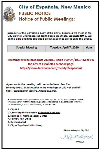 Special Meeting March 2020 Public Notice 4.4.20