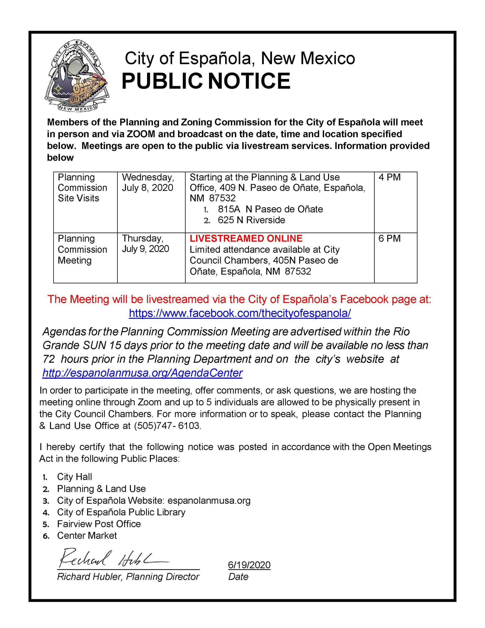 Planning Commission Public Notice July 2020