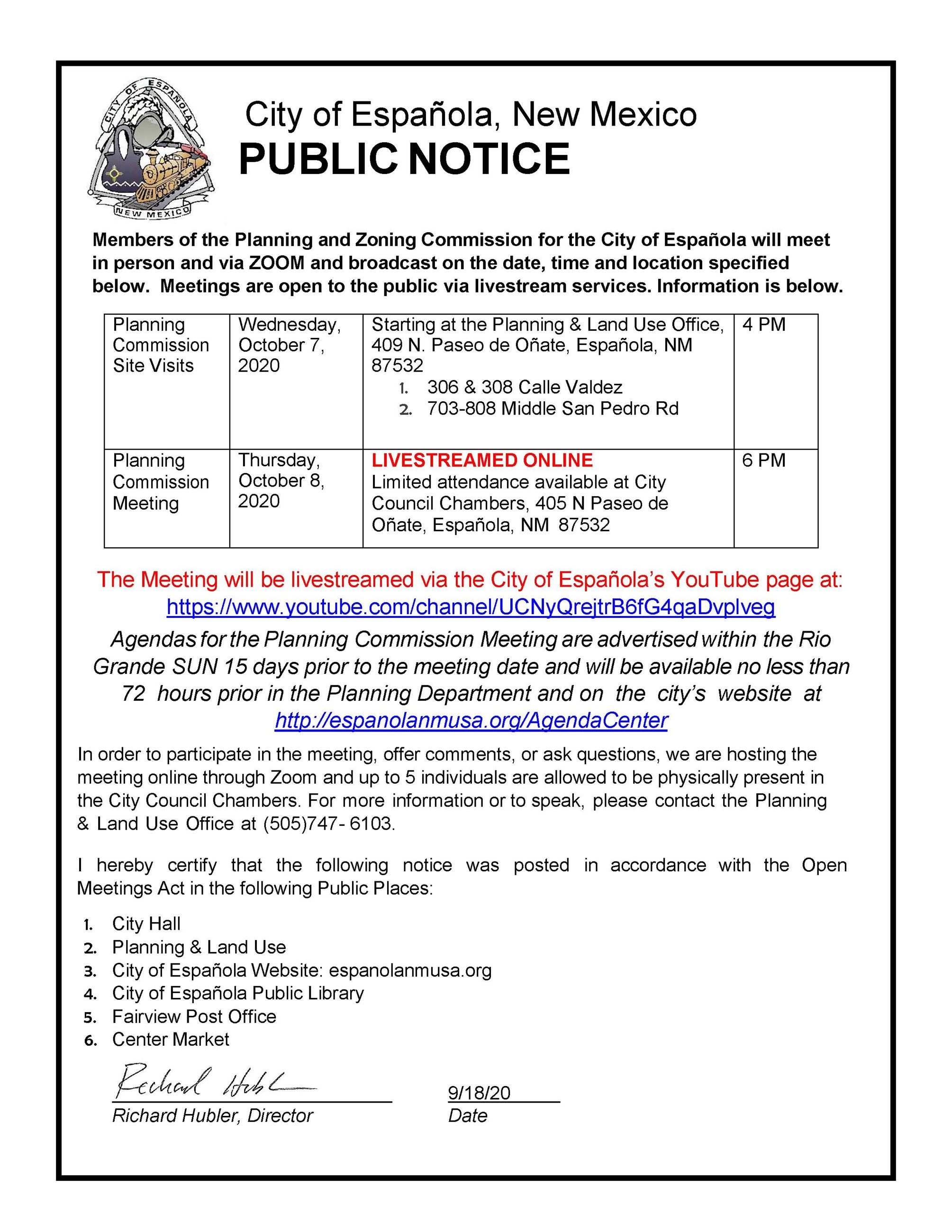 Planning & Land Use Public Notice September 2020